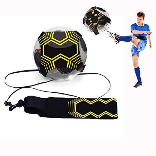 Cisixin Hands Free Football Kick Throw Trainer Solo Practice Training Aid Kid Child Soccer Training Belt Elastic Rope Soccer Training Band
