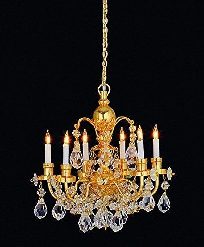 Melody Jane Puppenhaus 6 Arm ECHT KRISTALL KRONLEUCHTER GOLD FINISH Miniatur elektrische Licht -