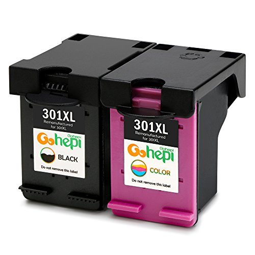 Gohepi 301XL Remanufactured Cartridges HP 301 Ink Cartridges Compatible with HP Deskjet 2540 1510 3050 3055 1050A 2050A 3000A, HP Officejet 4630 4634, 4500 5530 5532 HP Envy 5534 (Black 1, 1 Color)