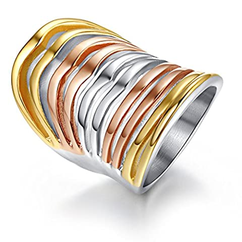 Vnox Vintage en acier inoxydable Multi-Color Large Cocktail Thumb Ring,or,argent,or rose,35mm de largeur