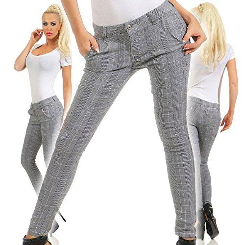 0467f3f4b7 Fashion4Young 5401 Damen Hose Treggings Business Kariert Damenhose Büro  Karohose Stretch Chino Slim-Fit