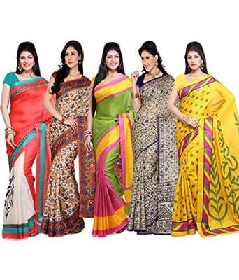 Ishin Bhagalpuri Art Silk Combos Printed Women's Saree