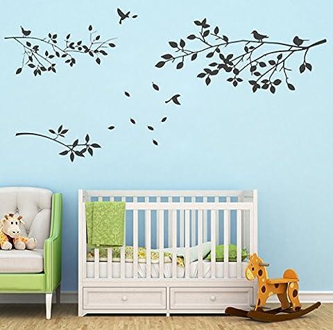 BDECOLL Décoration murale de branches d'arbre avec oiseaux Stickers muraux Sticker en vinyle Salle de vie en pépinière Bâtons de mur de salon (noir)