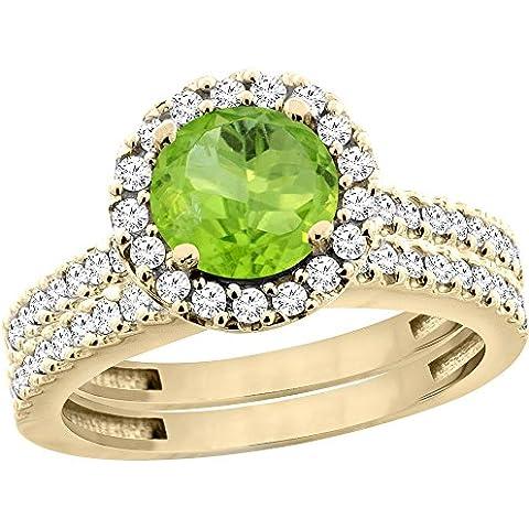 14ct oro amarillo lazulí Natural redondo 6 mm 2 piezas Juego de anillo de compromiso de diamante de Halo flotante, Tamaños J -