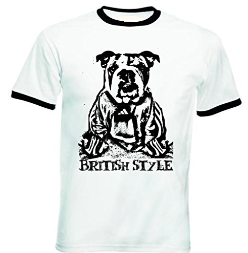 Teesquare1st Men's BRITISH BULLDOG BRITISH STYLE PB 2 Black Ringer T-Shirt Size XLarge