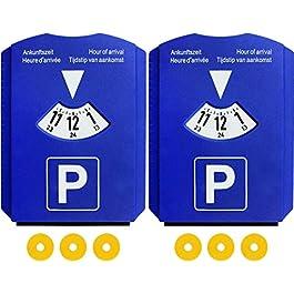 2 Disco Orario per Auto Europa Parking Disc con Raschietto per Ghiaccio e 3 Chip Carrello Della Spesa, Plastica Blu