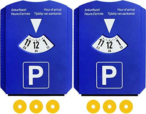 M&H-24 Europa Parkscheibe Parkuhr für Auto - mit 3 Einkaufswagenchips Eiskratzer Kunstoff Blau (2 Stück)
