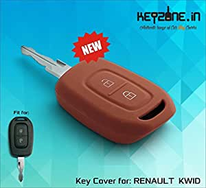 Keyzone Silicone Key Cover For Renault Kwid / Duster 2016 onwards remote key (Brown) (1)