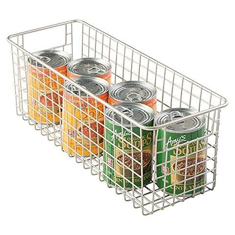 mDesign Wire Storage Basket for Kitchen, Pantry, Cabinet - Medium, Deep, Satin