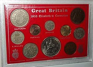 Queen Elizabeth II Coronation Crown Coin Collector Present Display Vintage Retro Gift Year Set 1953 (65th Birthday Present or Wedding Anniversary)