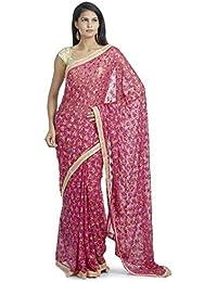 Ethnic Bliss Lifestyles Women's Chiffon Saree (Eblphksrmc-Dp-1_Dark Pink)