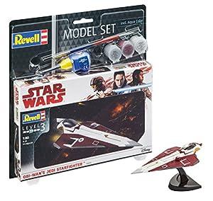 Revell Star Wars Set Jedi Starfighter, en Kit Modelo con Base Accesorios, fácil Pegar y para pintarlas, Escala 1:80 (63614), 10,0 cm de Largo