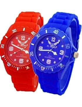 V8 Armbanduhr 2 Stück Neon Dunkelblau + Rot