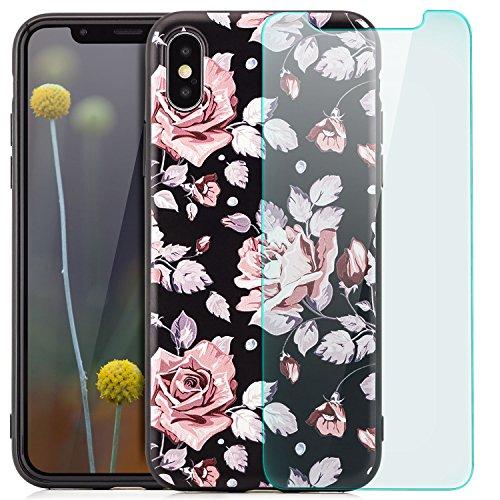 zanasta Schutzhülle iPhone X Hülle + Panzerglas Case Back Cover TPU Silikon Flexible Ultra Slim Schutz Handyhülle mit Motiv Blumen / Rosen mit Schrift Rosen