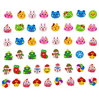 JZK 50 Cute little rubber pencil eraser set for children party favours kids birthday party bag fillers birthday for girls boys students