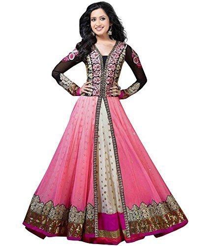 Sanjana Womens Faux Georgette Anarkali Dress Material (Shraddhapink _Pink _Free Size)