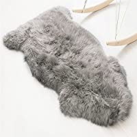 Faux lambskin sheepskin rug (60 x 90 cm), lambskin imitation rug, longhair fur, Leather Polyester, grey, 60 x 90 cm