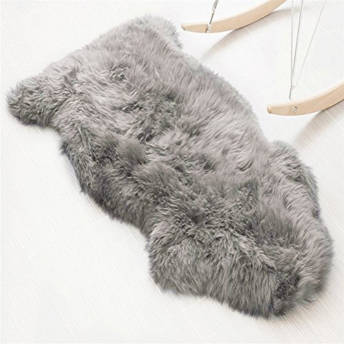 Foto de Faux Cordero Natur-Fell-Shop–Alfombra (60x 90cm) aspecto de pelo de cordero sintética Alfombra Longhair piratería. Lana cama Alfombrilla sofá Matte