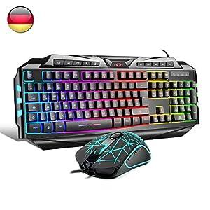 Gaming-Tastatur,Qwertz keyboard GK806 Rainbow LED-Hintergrundbeleuchtete Kabel-Tastatur 7 Tastenoptische Maus USB-Gaming…