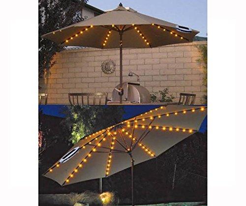 FiNeWaY Chaîne Lumière Guirlande Lumineuse 72LED À Énergie Solaire 8Entretoises Parasol Parapluie Jardin