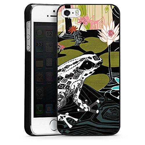 Apple iPhone 5 Housse étui coque protection Grenouille Nénuphar Fleurs CasDur noir