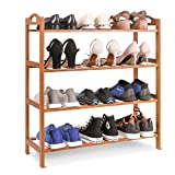 HOMFA Zapatero de Bambú Mueble zapatero Estantería para zapatos 4 estantes para 12 pares 68.5*26*75.5cm