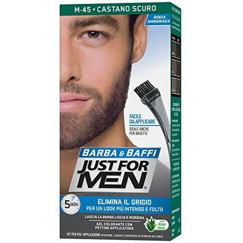 Just for Men Barba & Baffi, M45 - Castano Scuro, Gel Colorante con Pettine Applicatore, Elimina il Grigio per un Look più Intenso e Folto