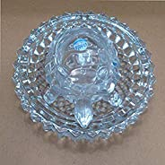 SHARABANI Glass Crystal Tortoise with Plate, 5.5 IN, Clear