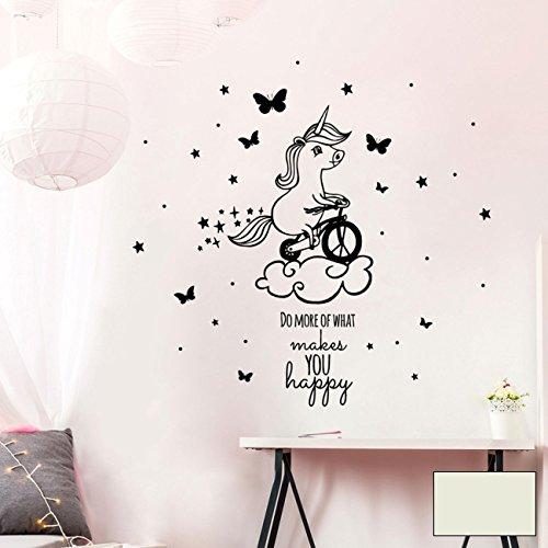 ilka parey wandtattoo-welt® Wandtattoo Einhorn Einhornwandtattoo Wandaufkleber Wandsticker Aufkleber Sticker mit Fahrrad und Spruch do more of what makes you happy unicorn M2085 - ausgewählte Farbe: *hellgrau* ausgewählte Größe: *L - 75cm breit x 75cm hoch*