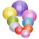 Bunte runde Papierlaternen für Geburtstag, Hochzeit, Weihnachten, Party, Dekoration, 9 Stück