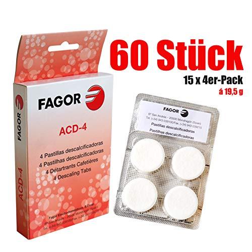 Fagor universal Schnellkalklöser Entkalkungstabletten-für-Kaffeevollatomaten 60 x Entkalker-Tabs -...
