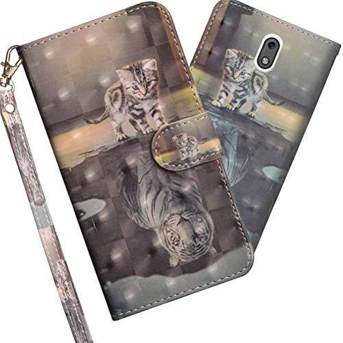 COTDINFOR Nokia 2.1 2018 Hülle 3D-Effekt Painted cool Schutzhülle PU Leder Flip Bookcase Handy Tasche Schale mit Magnet Standfunktion Etui für Nokia 2 2018 / Nokia 2.1 Cat Tiger YX.