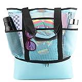 Idefair Mesh Strandtasche Tote, Extra große wiederverwendbare Shopping Strand Handtasche Familie Picknick Kühler Outdoor Grocery Organizer Net Bag