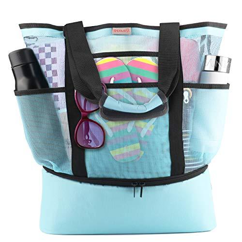 Idefair Mesh Strandtasche Tote, Extra große wiederverwendbare Shopping Strand Handtasche Familie Picknick Kühler Outdoor Grocery Organizer Net Bag -