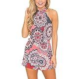 Honestyi Damen Maxikleider Sommerkleider Vintage Boho Blumen Kleid Neckholder Printkleider Partykleider Strandkleider Minikleid Große Größe S-XXL (M, V-Rosa)