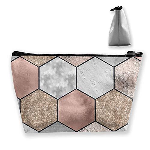 Kosmetiktasche für Frauen Make-up Tasche Geldbörse Nette Reiseveranstalter Tasche Rose Gold Marmor Textur Geometrie - Tasche Duck Daisy Make-up