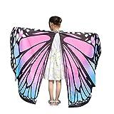 Lazzboy Kid Baby Girl Butterfly Wings Schal Schals Nymphe Pixie Poncho Kostüm Zubehör(M,Rosa)