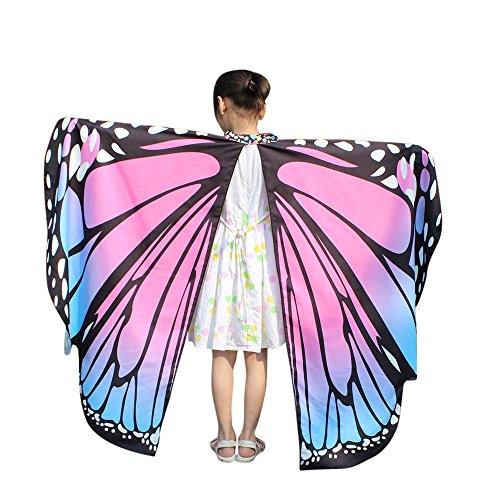 Sllowwa Damen Schmetterling Kostüm Cosplay Faschingkostüme Schmetterling Schal Flügel für Party Halloween Weihnachten Karneval Fasching(Rosa)