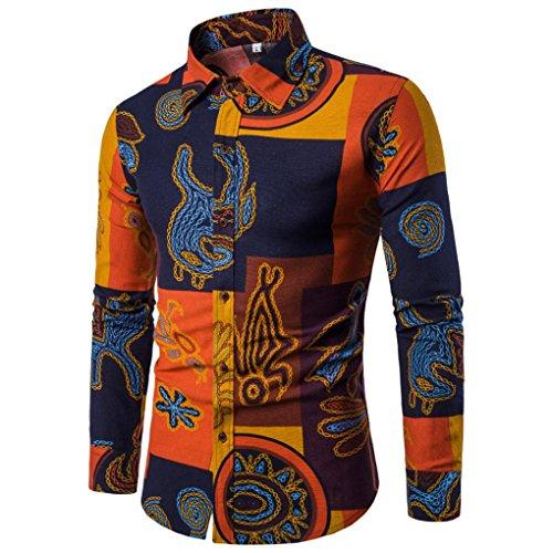 Feixiang camicia uomo, uomo casual manica lunga camicia business slim fit camicia stampa camicetta top,l~xxxl (multicolore, xl)