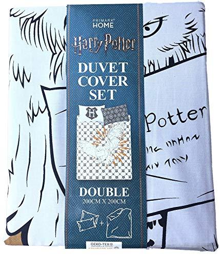 Conjunto de funda edredón y almohada de Harry Potter (distintos tamaños), Black & White Hedwig, Double 200CM X 200CM + 2 Pillowcases.