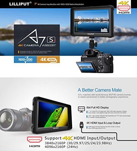 nero Lilliput A7S-2 7 pollici 1920×1200 IPS Screen Camera Field Monitor 4K HDMI Input output Video For DSLR Mirrorless Camera SONY A7 A7R A7S II A6500 Panasonic GH4 GH5 Canon 5D IV 6D 7D 70D 80D NIKON - 2