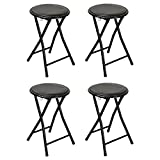 Harbour Housewares Round Compact Folding Stool - Black - Pack Of 4