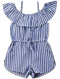 Carolilly Ropa Infantil para niños pequeños bebés niña Trajes Fuera del Hombro con Volantes a Rayas Mono