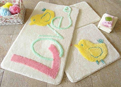 Badematten Set Hohe Qualität flauschig Teppich Antibakteriell rutschfeste Sommer Spring waschbar Dusche Badezimmer Leinen 3 Stück Wohnzimmer WC-Chick Love Pet Rosa Gelb Grün Weiß geprägt 351 als2041 (Grün-teppich-sets, Wohnzimmer)