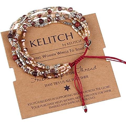 KELITCH Cristallo Rosso Arenaria Rocailles Pelle Cluster Multi-strand Bracciale Corda - Rosso