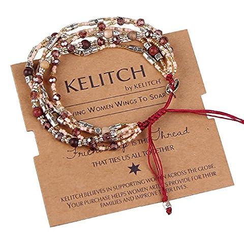 KELITCH Crystal Red Sandstone Seed Beaded Cluster Multi-strand Bracelet Rope
