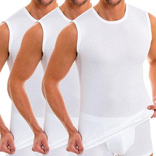 HERMKO 3040 3er Pack Herren Tank Top Unterhemd mit Rundhals-Ausschnitt, Farbe:weiß, Größe:D 7 = EU XL -