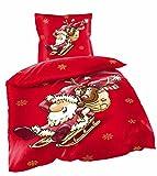 Basatex Warme Winter Bettwäsche Flausch Fleece Weihnachten Motiv 135x200 80x80 cm Ruprecht