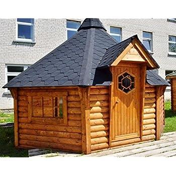 satuja grillkota pavillon partyh tte feuerstelle grillh tte gartenhaus 6 eckig gr ne schindeln. Black Bedroom Furniture Sets. Home Design Ideas