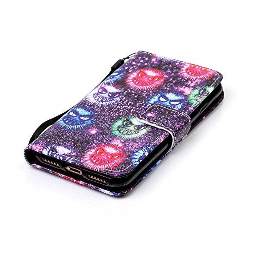 """Cuir Portefeuille Coque pour Apple iphone 7 4.7"""" Noir, Élégant iPhone 7 étui Rabat Style, Case iPhone 7, Joli Image Imprimé - Petits monstres Noir"""